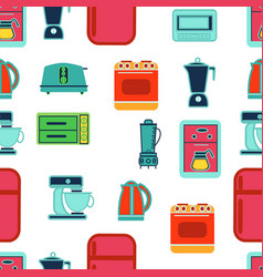 kitchen appliances seamless pattern in flat vector image