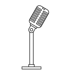 microphone icon outline style vector image vector image