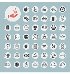 shopping and Tourism Icon set on blue paper vector image