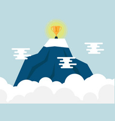 trophy on top of mountain vector image