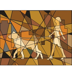 Woman and dog vector image vector image