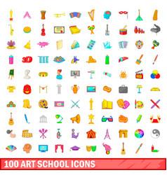 100 art school icons set cartoon style vector
