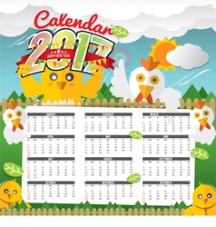 2017 Calendar Starts Sunday Chicken In Forest vector