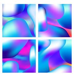 a set trendy liquid backgrounds blue cyan vector image