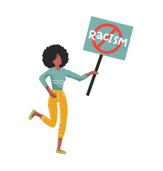 afro-american woman holding no racism sign vector image