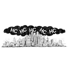 Artistic drawing city covered smog and hc vector