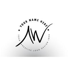 Aw handwritten letters logo design with circular vector