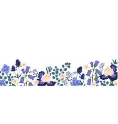 backdrop with border spring blooming flowers vector image