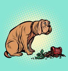 bad dog broke a potted houseplant vector image