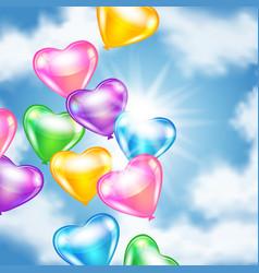 Balloons in shape heart in sky vector