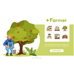 banner farmer with linear icons set vector image