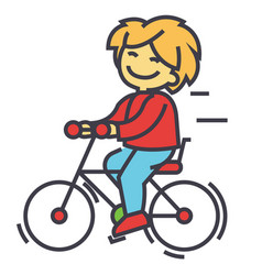 bicycle boy riding children activity play vector image