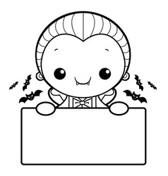 Black and white dracula mascot is holding a board vector