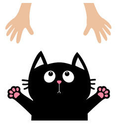 Black cat face looking up to human hand paw print vector