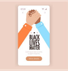 black lives matter multiracial couple holding hand vector image