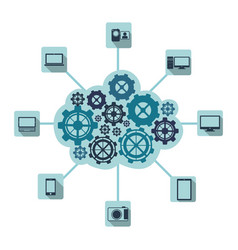 Blue gears technological communications icon vector