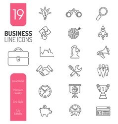 Business Strategy Thin Lines Web Icon Set vector image