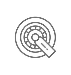car wheel lock line icon isolated on white vector image