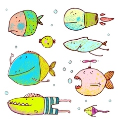 Cartoon Cute Fish Drawing Collection vector image