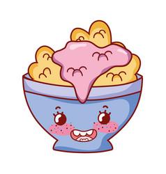 Cereal in bowl breakfast food cute kawaii isolated vector