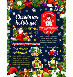 Christmas holidays greeting card wishes vector