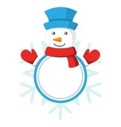 Christmas Label Icon Flat with Snowman Isolated on vector
