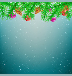 christmas spruce blue winter background vector image