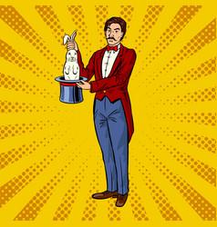 circus with rabbit pop art vector image
