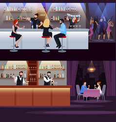 cocktail people composition set vector image