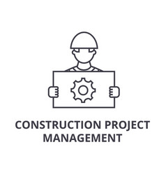 Construction project management line icon vector