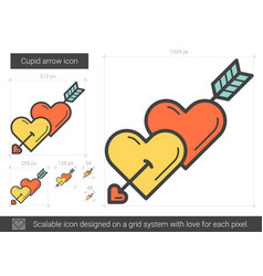 Cupid arrow line icon vector