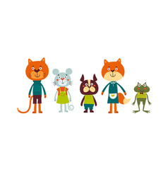 Cute animal set including cat mouse dog fox vector