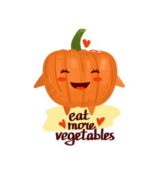 cute cartoon kawaii food pumpkin vector image