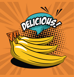 Delicious bananas pop art icons vector