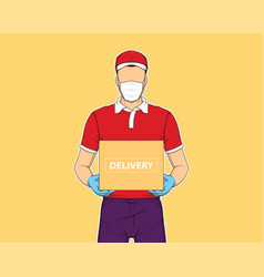 delivery man holding box online shopping and vector image
