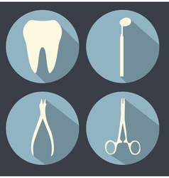 Dental theme flat icons vector image