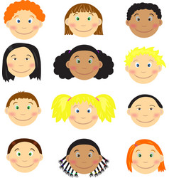 Different kids faces vector