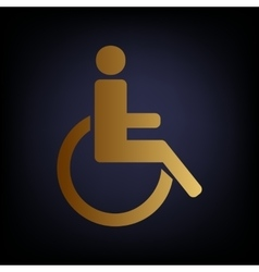 Disabled sign Golden style icon vector