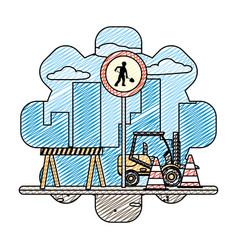 Doodle circle laborer embblem and forklift vector
