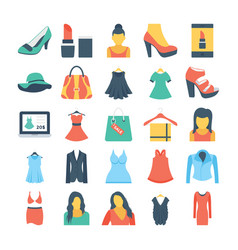 Fashion and clothes colored icons 1 vector