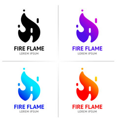 fire flames with sparks colored set vector image