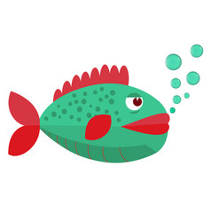 fish with blowing bubbles flat icon vector image