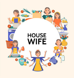 Flat housewife round concept vector