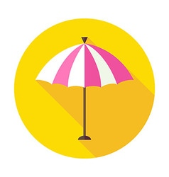 Flat Sun Summer Umbrella Circle Icon with Long vector image
