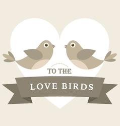 Flying love birds wedding card vector image