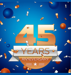 Forty five years anniversary celebration design vector