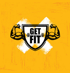 Get fit workout and fitness gym design element vector