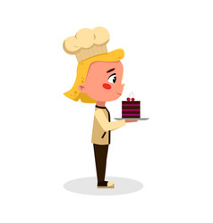Girl baker or confectioner character with cake vector