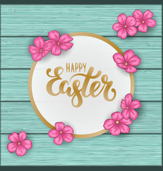happy easter greeting card with flowers pink daisy vector image