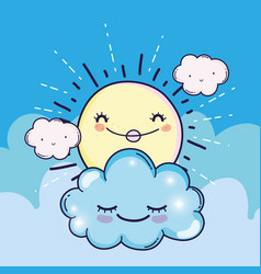 happy sun with cute fluffy clouds vector image